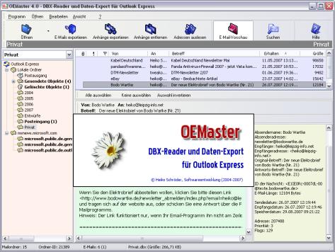 OEMaster - Outlook Express Daten-Export